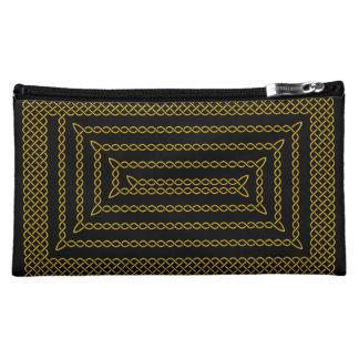 Gold And Black Celtic Rectangular Spiral Makeup Bag