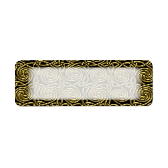 Gold And Black Celtic Spiral Knots Pattern Return Address Label