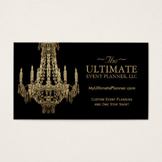 Gold and Black Chandelier Business Cards