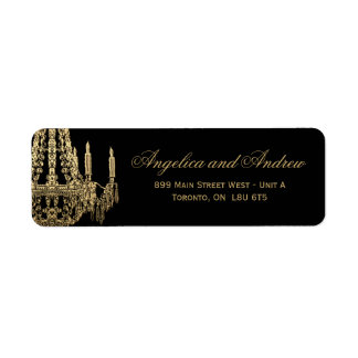 Gold and Black Chandelier RSVP Address Labels