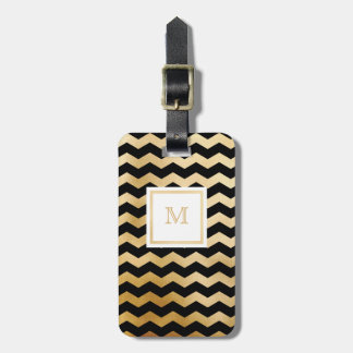 Gold and Black Chevron Luggage Tag
