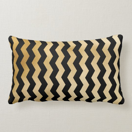 gold and black chevron Pillow