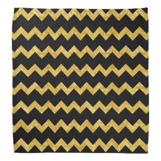 Gold and Black Chevron Stripes Bandana