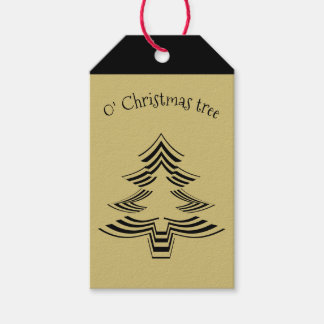 Gold and Black Christmas Tree Geometric Pattern Gift Tags