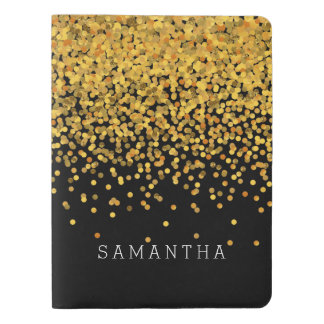 Gold and Black Confetti Extra Large Moleskine Notebook