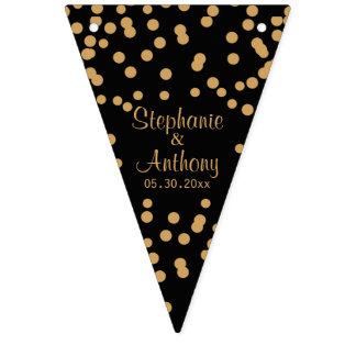 Gold and Black Confetti Wedding Bunting Flags