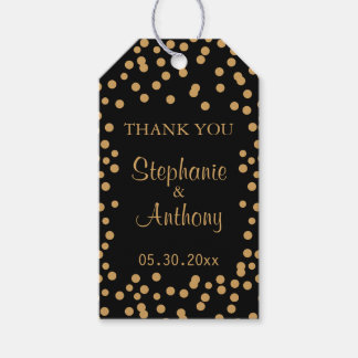 Gold and Black Confetti Wedding Gift Tags