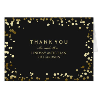 Gold and Black Confetti Wedding Thank You Card