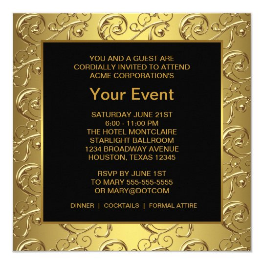 gold and black corporate party event card zazzle ca