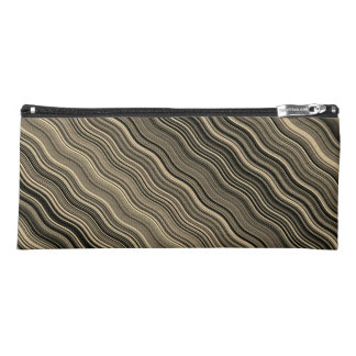 Gold and Black Curvy Lined Pattern Pencil Case