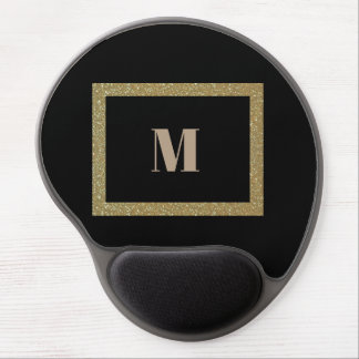 Gold and black customizable monogram gel mousepad