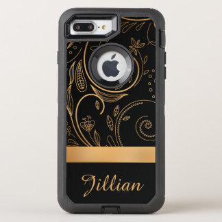 Gold and Black Damask Floral, Name OtterBox Defender iPhone 8 Plus/7 Plus Case