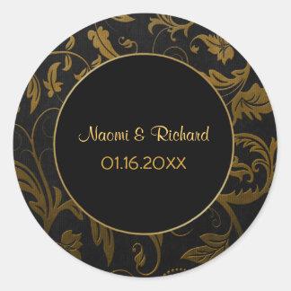 Gold and Black Damask Wedding Seal - Customize
