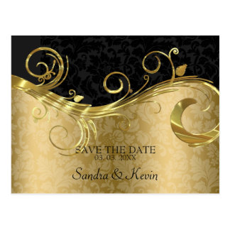 Gold And Black Damask With Swirl- Save The Date Postcard
