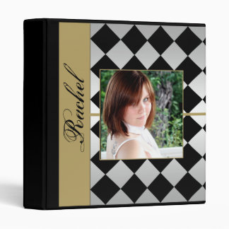 Gold and Black Diamond Tile Graduation Binder