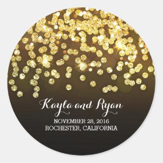 Gold and Black - Diamonds Glitter Wedding Classic Round Sticker