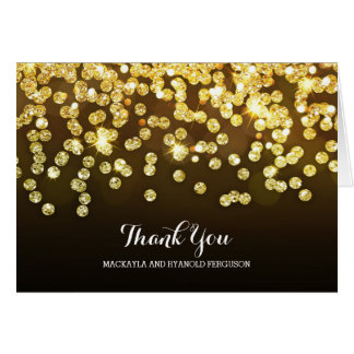 Gold and Black Diamonds Wedding Thank You Card