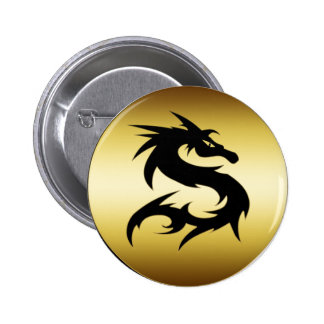 GOLD AND BLACK DRAGON 2 INCH ROUND BUTTON