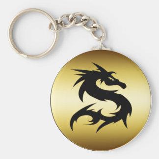 GOLD AND BLACK DRAGON BASIC ROUND BUTTON KEYCHAIN