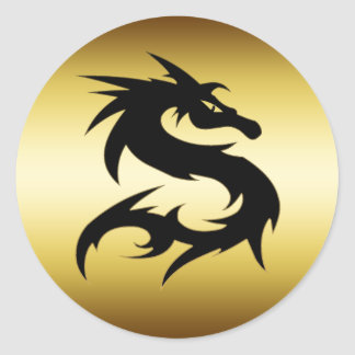 GOLD AND BLACK DRAGON CLASSIC ROUND STICKER