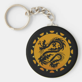 Gold and Black Dragon Fantasy Basic Round Button Keychain