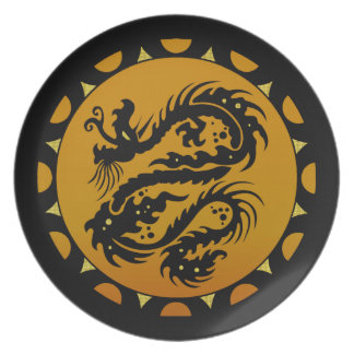 Gold and Black Dragon Fantasy Dinner Plate