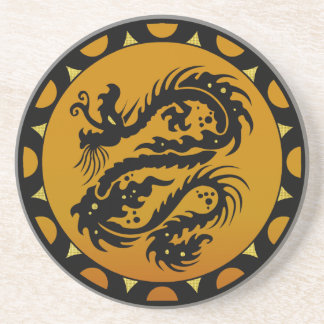 Gold and Black Dragon Fantasy Drink Coasters