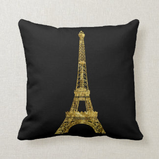 Gold and Black Eiffel Tower Throw Pillow