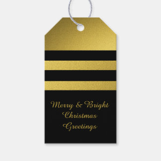 Gold And Black Family Christmas Greetings Pack Of Gift Tags