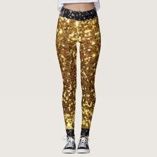 Gold and Black Faux Glitter Leggings