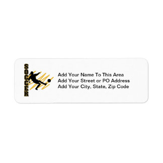 Gold and Black Female Soccer Player Return Address Label