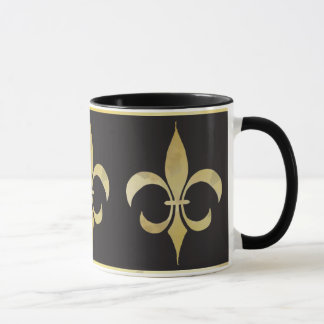Gold and Black Fleur-de-lis Mug