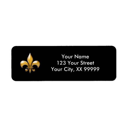 Gold and Black Fleur de Lis Return Address Labels