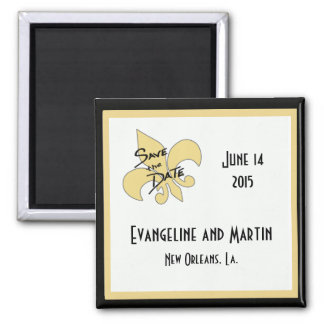 Gold and Black Fleur de Lis Save the Date Magnets