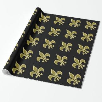 Gold and Black Fleur-de-Lis Wrapping Paper