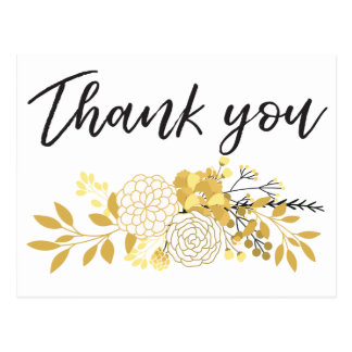 Gold and Black Floral Cluster | Thank You Postcard