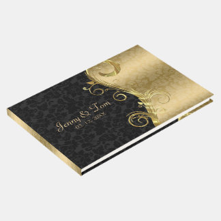 Gold And Black Floral Damask Guest Book