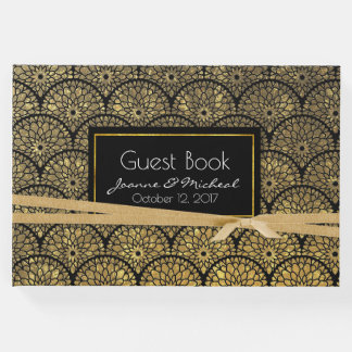 Gold and Black Floral Scalloped Wedding Guest Book