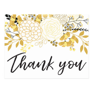 Gold and Black Floral | Thank You Postcard