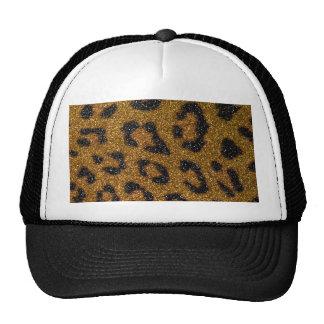 Gold and Black Girly Glitter Cheetah Print Mesh Hat