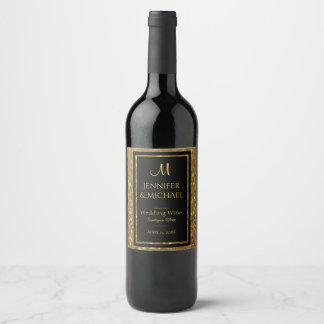 Gold and Black Glitter Look Wine Label