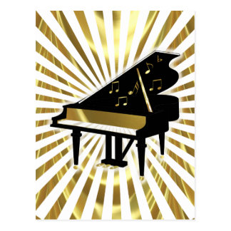 Gold and Black Grand Piano Music Notes Postcard