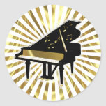Gold and Black Grand Piano Music Notes Classic Round Sticker