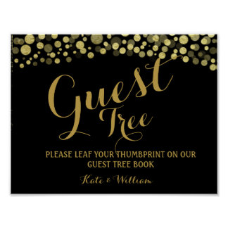 Gold and BLACK guestbook Tree SIGN