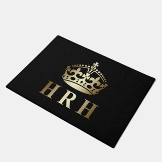 Gold And Black HRH Royal Crown Doormat
