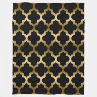 Gold And Black Ikat Quatrefoil Geometric Pattern Fleece Blanket