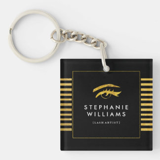 Gold and Black Lash Stylist Keychain