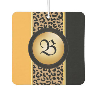 Gold and Black Leopard Animal Print | Monogram Air Freshener
