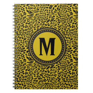 Gold and Black Leopard-Print Monogrammed Spiral Notebook