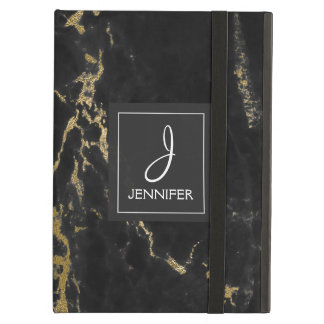 Gold and Black Marble Elegant Monogram Cover For iPad Air